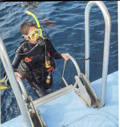 ダイビングボートの船尾のはしご