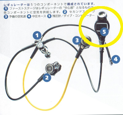 ダイビング レギュレーター 残圧計